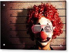 Clown Criminal Mug Shot Photo Id On Police Lines Acrylic Print