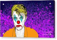Acrylic Print featuring the drawing Clown David Bowie by Jason Tricktop Matthews