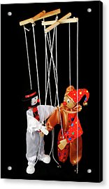 Clown Marionettes Shaking Hands On A Black Background With Suspe Acrylic Print