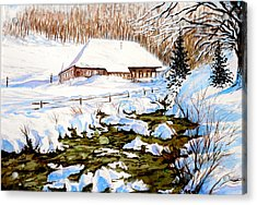 Acrylic Print featuring the painting Clubhouse In Winter by Sher Nasser