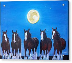 Clydesdales In Moonlight Acrylic Print
