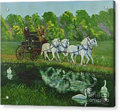 Coach And Four In Hand Acrylic Print by Charlotte Blanchard