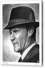 Coach Tom Landry Acrylic Print by Greg Joens