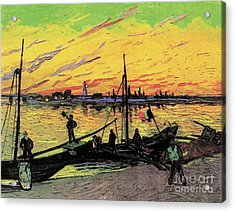 Coal Barges Acrylic Print by Vincent Van Gogh