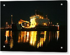 Coast Guard Cutter Mackinaw At Night Acrylic Print by Keith Stokes