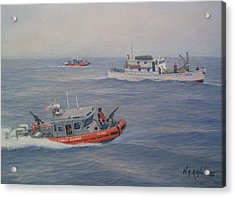 Coast Guard Nets Catch Of The Day Acrylic Print by William H RaVell III