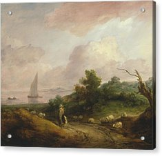 Coastal Landscape With A Shepherd And His Flock Acrylic Print by Thomas Gainsborough