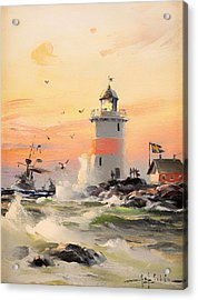 Coastal Landscape With Lighthouse Acrylic Print