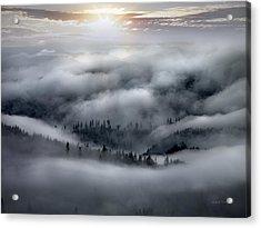 Coastal Range Ocean Fog Acrylic Print by Leland D Howard