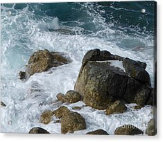 Coastal Rocks Trap Water Acrylic Print by Margaret Brooks