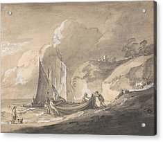 Coastal Scene With Figures And Boats  Acrylic Print by Thomas Gainsborough