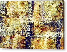 Cobalt And Yellow Abstract Acrylic Print by Bonnie Bruno