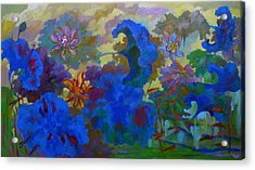 Cobalt Lotus Acrylic Print by Tung Nguyen Hoang
