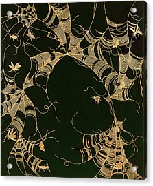 Cobwebs And Insects Acrylic Print by Japanese School