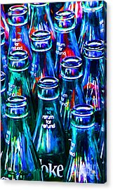 Coca-cola Coke Bottles - Return For Refund - Painterly - Blue Acrylic Print by Wingsdomain Art and Photography