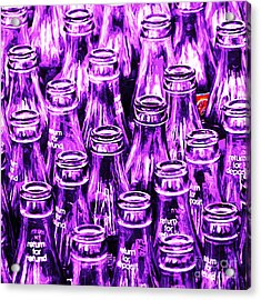 Coca-cola Coke Bottles - Return For Refund - Square - Painterly - Violet Acrylic Print by Wingsdomain Art and Photography