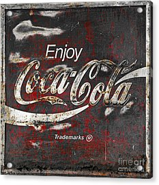 Coca Cola Grunge Sign Acrylic Print by John Stephens