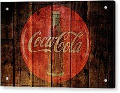 Coca Cola Old Grunge Wood Acrylic Print
