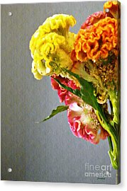 Acrylic Print featuring the photograph Cockscomb Bouquet 4 by Sarah Loft