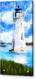 Acrylic Print featuring the mixed media Cockspur Island Light - Georgia Coast by Mark Tisdale