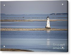 Cockspur Island Lighthouse With Jetty Acrylic Print by Carol Groenen