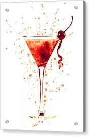 Cocktail Drinks Glass Watercolor Red Acrylic Print