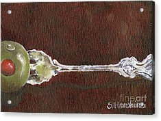 Cocktail Fork With Olive Acrylic Print by Sheryl Heatherly Hawkins