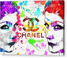 Coco Chanel Grunge Acrylic Print by Daniel Janda
