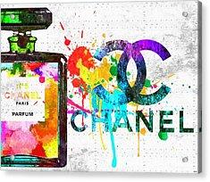 Coco Chanel No. 5 Grunge Acrylic Print by Daniel Janda