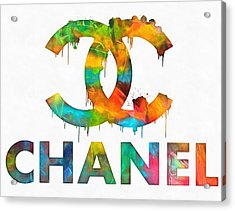 Coco Chanel Paint Splatter Color Acrylic Print by Dan Sproul