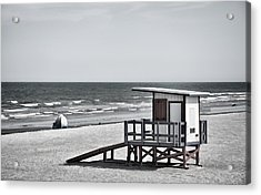 Cocoa Beach - Life Guard Shack - Florida - B/w Acrylic Print by Greg Jackson