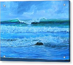 Acrylic Print featuring the painting Cocoa Beach Surf by AnnaJo Vahle