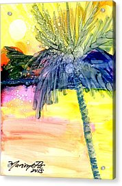 Acrylic Print featuring the painting Coconut Palm Tree 3 by Marionette Taboniar