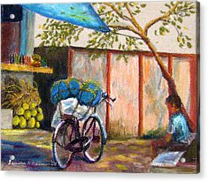 Coconut Stand Acrylic Print by Art Nomad Sandra  Hansen