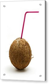 Coconut With A Straw Acrylic Print by Fabrizio Troiani