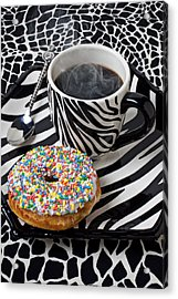 Coffee And Donut On Striped Plate Acrylic Print by Garry Gay