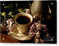 Coffee And Lilacs In The Morning Acrylic Print by Lois Bryan