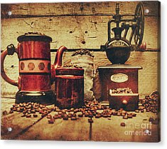 Coffee Bean Grinder Beside Old Pot Acrylic Print