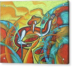 Acrylic Print featuring the painting Coffee Bean Harvest by Leon Zernitsky