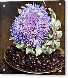 Coffee Beans And Blue Artichoke Acrylic Print