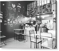 Coffee Cafe Black And White Acrylic Print by Sirikorn Techatraibhop