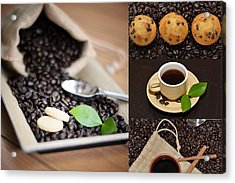 Coffee Collage Photo Acrylic Print by Serena King