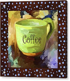 Coffee Cup With Blue Dots Acrylic Print by Jai Johnson