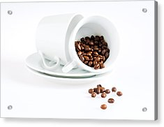 Acrylic Print featuring the photograph Coffee Cups And Coffee Beans  by Ulrich Schade