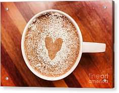 Coffee Love. White Coffee Cup On Wooden Background Acrylic Print