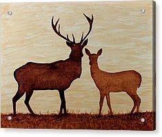 Coffee Painting Deer Love Acrylic Print by Georgeta  Blanaru