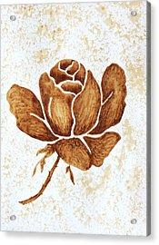 Coffee Painting Rose Blooming Acrylic Print by Georgeta  Blanaru