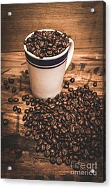 Coffee Shop Cup And Beans Acrylic Print