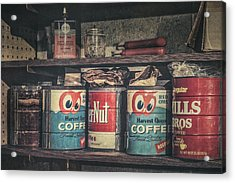 Coffee Tins All In A Row Acrylic Print by Scott Norris