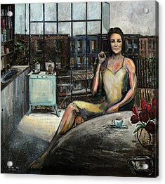 Coffee With Kate Acrylic Print by Antonio Ortiz